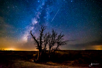 Shooting Star and Milky Way over Enchanted Rock