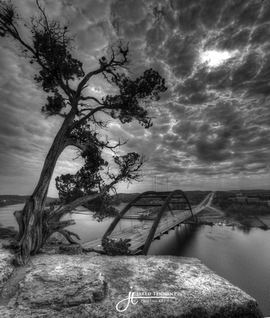 Austin, Texas, Pennybacker Bridge, 360 Bridge, Landscape, Fine Art Photography,Austin, Bridge, HDR, Black and White, Art, Lake, Texas, Jared Tennant, JTpics